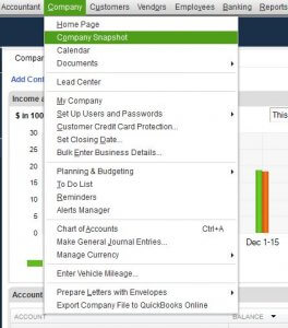 QuickBooks Company Snapshot Menu Drop Down
