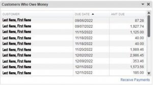QuickBooks Snapshot - Who owes me money?