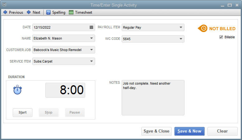 Time/Enter Single Activity Screen Shot